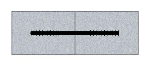 flat ribbed waterstop embedded in concrete drawing
