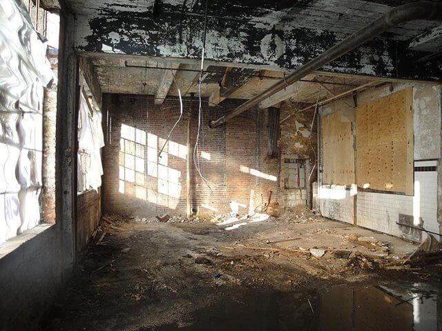 One of the damaged rooms in the School